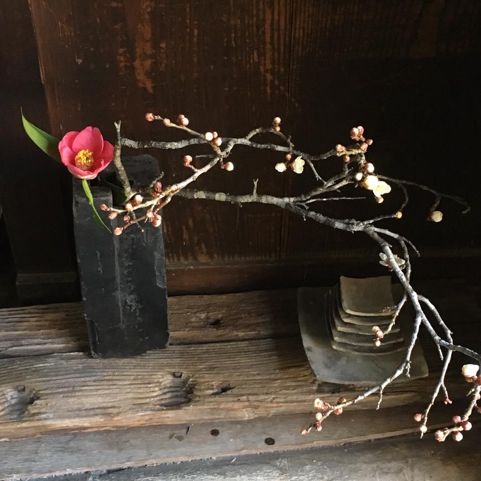 陶芸家・船越保氏の作品 椿と梅